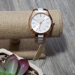 Michael Kors * Runway Slim White & Rose Gold Watch